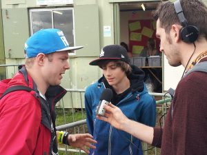 Jonezy and Alexandru (Norway) being interviewed by the BBC at Glastonbudget 2013
